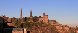 Calton Hill and its monuments; the castellated structure is the Governor's House of the Old Calton Jail, next to the government offices of St. Andrew's House.