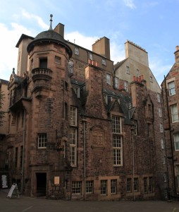 The Writer's Museum in Edinburgh; the museum presents exhibits on Scotland's three most revered writers: Robert Burns, Walter Scott, and Robert Louis Stevenson.