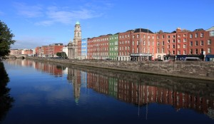 The Liffey River with St. Paul's Church in view.
