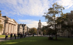 Parliament Square in Trinity College; the college was established in 1592 AD and has been attended by the following literary greats: Jonathan Swift, Oscar Wilde, Samuel Beckett, and Bram Stoker.