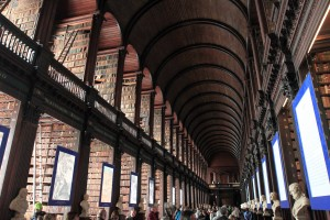 The Long Room of the Old Library in Trinity College.