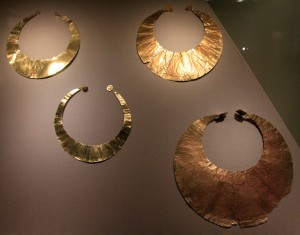 Gold lunulas (ca. 2000 BC).