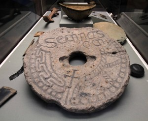 "An inscribed grave marker (or ""memorial slab"") from the 9th or 10th-century AD."