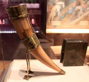 The Kavanagh Charter Horn, a ceremonial drinking horn and symbol of the kingship of Leinster; this is the only piece of Irish regalia to have survived from the Middle Ages (15th-century AD).