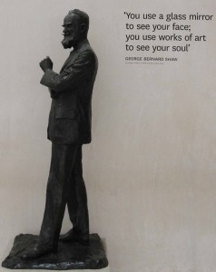 Statue of George Bernard Shaw inside the National Gallery of Ireland.