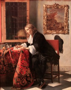 'Man Writing a Letter' by Gabriel Metsu (1664/65 AD).