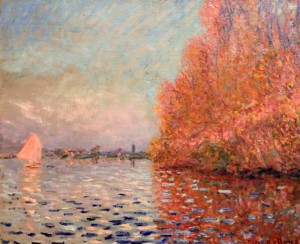 'Argenteuil Basin with a Single Sailboat' by Claude Monet (1874 AD).