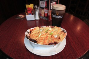 My dinner of beef and Guinness pie and Guinness beer.