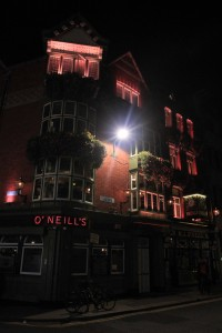 O'Neill's pub, on the corner of Church Lane and Suffolk Street.