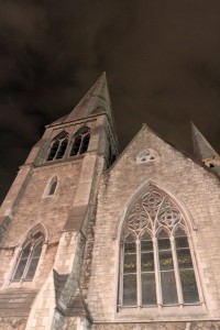 St. Andrew's Church at night; it was founded in the 16th-century AD, but now houses the Central Tourist Office.