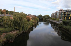 The Liffey River near Phoenix Park with the Wellington Monument visible on the left.