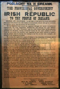 An original 'Proclamation of the Republic', a document issued by the Irish Volunteers and Irish Citizen Army during the 1916 Easter Rising.