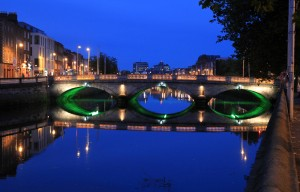 Mellows Bridge over the Liffey River at night; this bridge has been standing since it was built in 1768 AD.