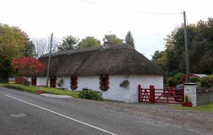 A traditional thatch roof cottage along the road in Staleen, near Brú na Bóinne.