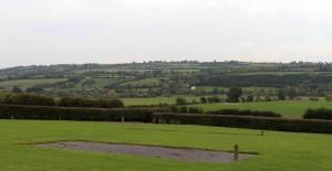 Verdure farmlands surrounding Brú na Bóinne, seen from the Neolithic monument, Newgrange.