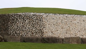 Reconstructed stone pattern on the outer wall of Newgrange mound.