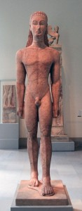 Marble statue of a kouros, on display inside the Met (Greek, ca. 590-580 BC).