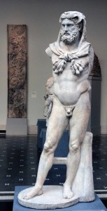 Marble statue of a bearded Hercules with a lion skin (Roman, ca. 68-98 AD).