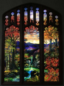 'Autumn Landscape' attributed to Agnes Northrup for Tiffany Studios (1923/24 AD).