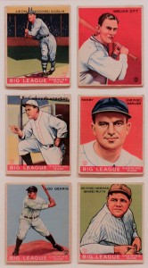 Big League baseball cards from 1933 AD.