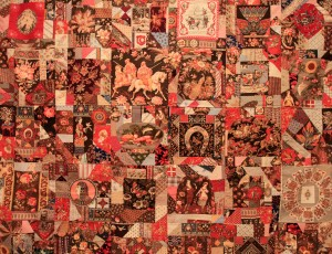 "A ""crazy quilt"" - a fad in the last decades of the 19th-century AD."