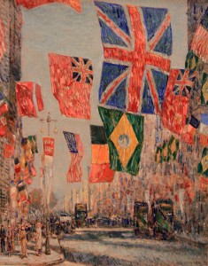 'Avenue of the Allies, Great Britain, 1918' by Childe Hassam (1918 AD).