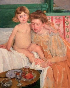 'Mother and Child (Baby Getting Up From His Nap)' by Mary Cassatt (1899 AD).