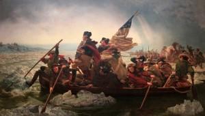 'Washington Crossing the Delaware' by Emanuel Leutze (1851 AD).