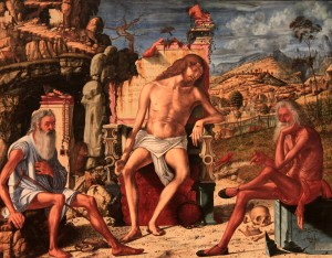 'The Meditation on the Passion' by Vittore Carpaccio (1490 AD) - in this painting, Christ's dead body sits on a throne with Saint Jerome on the left and Job on the right.