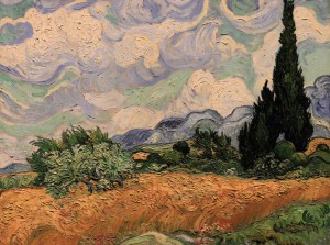 'Wheat Field with Cypresses' by Vincent van Gogh (1889 AD).