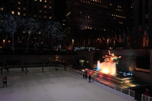The Lower Plaza of Rockefeller Center with the Winter ice-skating rink.