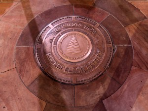 The Christmas Tree Plaque in front of Rockefeller Center, marking where the tree will be placed for the holiday season.