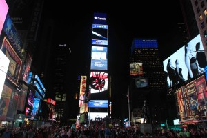 Times Square at night, looking northward.