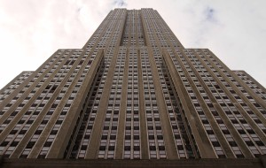 Looking up at the Empire State Building.
