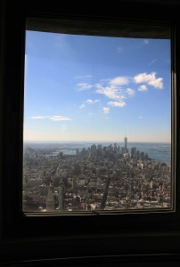 Looking out the southern-facing window in the Empire State Building's Top Deck (102nd floor).
