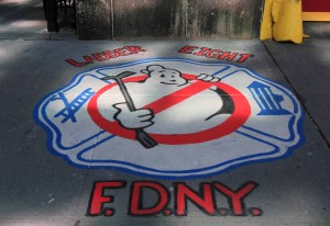Painting on the sidewalk in front of the FDNY Hook & Ladder No. 8 Firehouse.