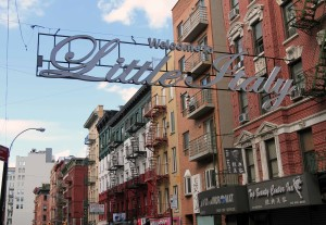 "Little Italy ""welcome"" sign."