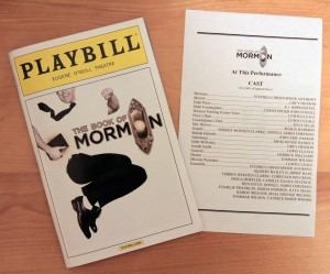 Playbill and cast list for 'The Book of Mormon'.