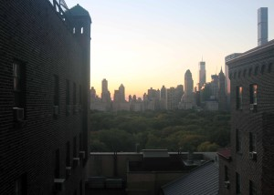 View from my room at the YMCA, looking east toward Central Park.