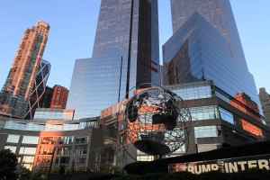 Trump International Hotel & Tower and stainless steel globe in the morning light.