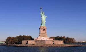 The Statue of Liberty on Liberty Island.