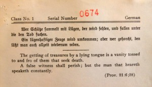Dual-language card used to test an immigrant's literacy - in their native language -, in accordance with the Immigration Act of 1917.