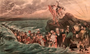 Cartoon from 1881 AD depicting Uncle Sam as a modern Moses opening up the Atlantic Ocean for all the Jewish immigrants escaping intolerance and oppression in Europe.