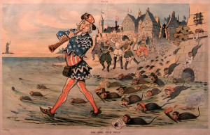 Cartoon from 1909 AD showing European leaders cheering as Uncle Sam plays the Pied Piper and leads all the criminals (in particular, the mafia) to the United States.