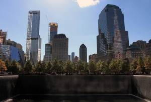 Looking southward from the North Pool at the National September 11 Memorial.