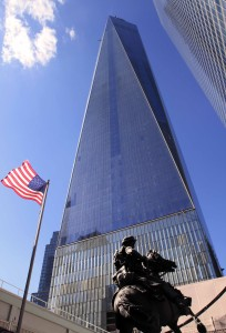 America's Response Monument with One World Trade Center in the background.