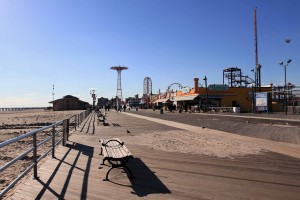 Looking west on the boardwalk with the defunct Parachute Jump ride in the distance (it hasn't operated since 1964 AD).