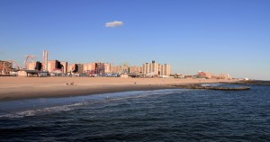 Coney Island beach, seen from the pier.