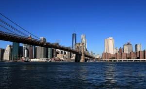 The Brooklyn Bridge, built in 1883 AD.
