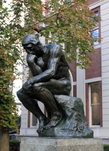'The Thinker', one of many cast sculptures made from the original bronze sculpture by Auguste Rodin sculpture (this one is located at Columbia University).